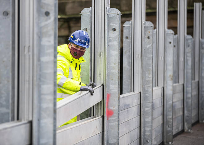 Environment Agency staff have been installing flood barriers in preparation for Storm Christoph