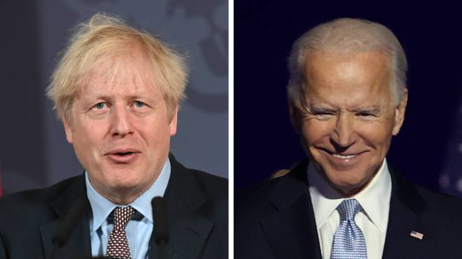 Boris Johnson has said he is looking forward to working with Joe Biden
