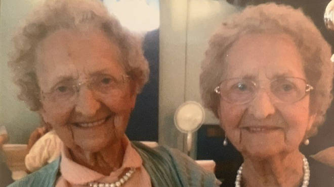 Doris Hobday pictured with her twin Lilian Cox