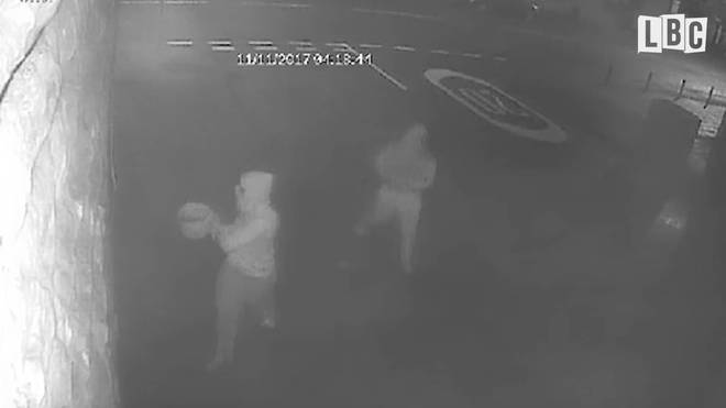 Arson attack caught on CCTV.