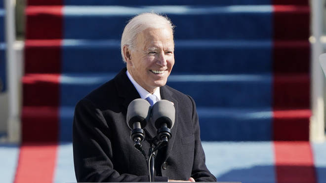 President Joe Biden speaks during the 59th presidential inauguration at the US Capitol in Washington