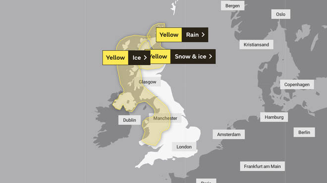 Yellow weather warnings are in place across the UK