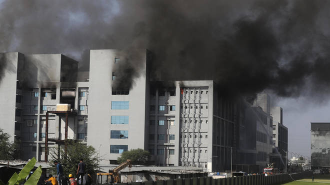Firemen try to douse a fire at the Serum Institute of India, the world's largest vaccine maker, in Pune