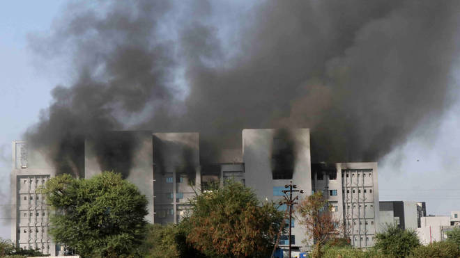Smoke rises from the blaze at the Serum Institute of India
