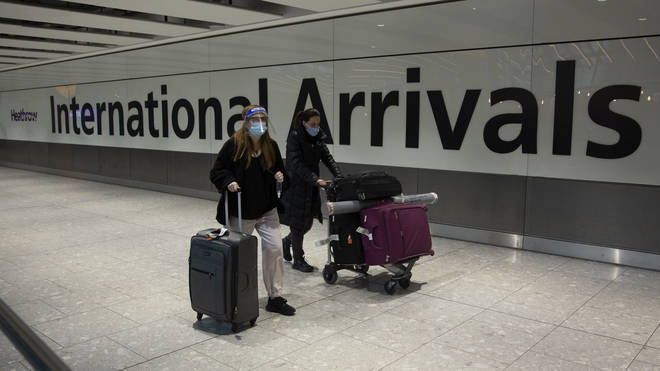 The UK's travel corridors were closed on Monday 18 January