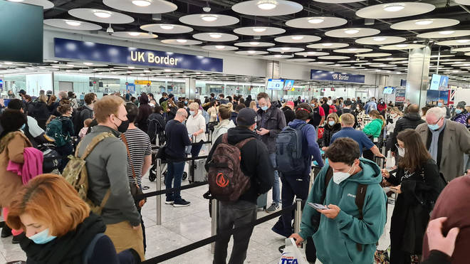 There were long queues at the Heathrow border control on Saturday morning.