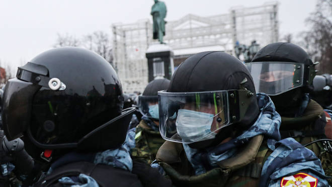In Moscow, an estimated 15,000 protesters gathered in and around Pushkin Square in the city centre, where clashes with police broke out