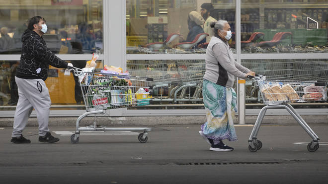 Shoppers in Christchurch, New Zealand during the country's initial Covid-19 lockdown