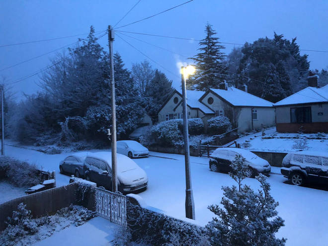 There was a thick coating of snow seen in Salisbury.