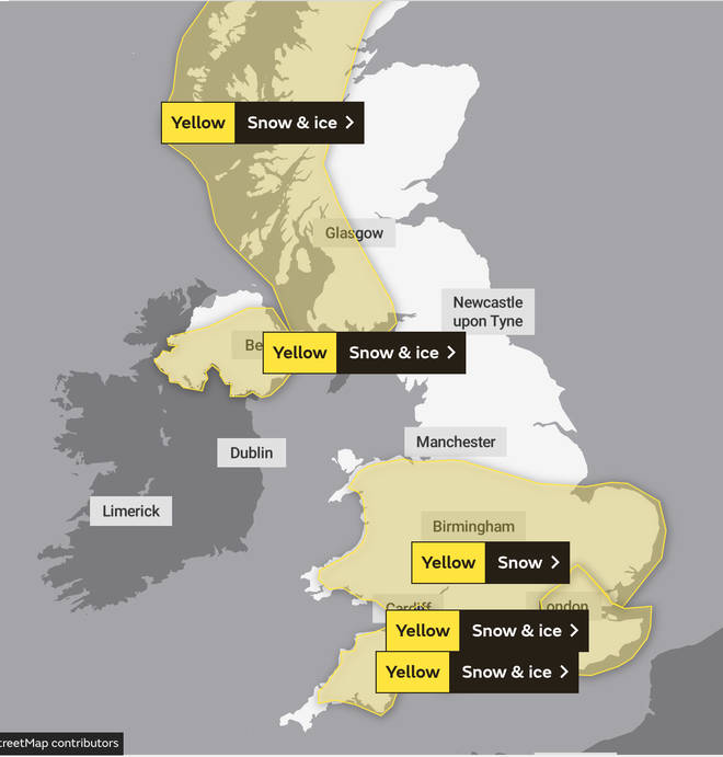 Met Office weather warnings are in place across the country on Sunday.