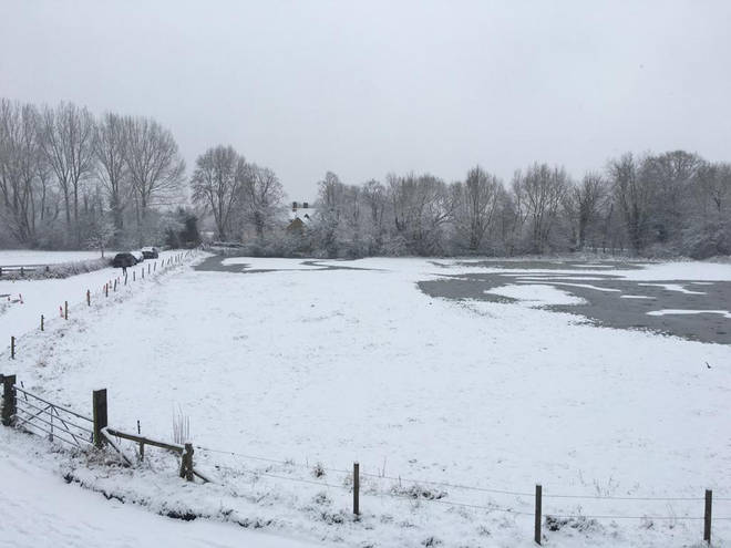 There was a wintery view in Binsey, Oxford, with fields frozen over.