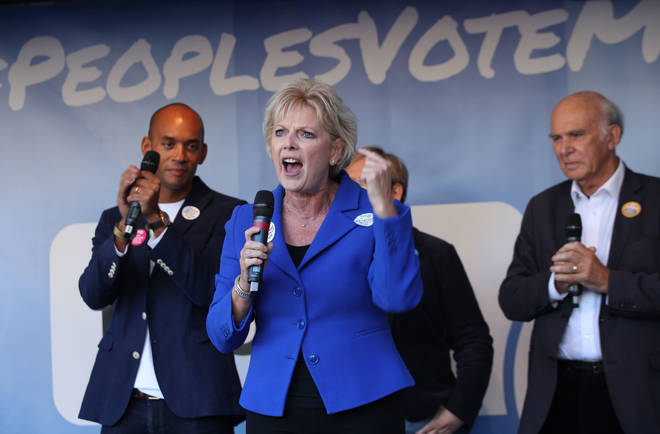 Anna Soubry speaking with Chuka Umunna and Sir Vince Cable at the People's Vote march in London