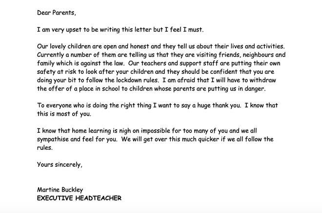 The headteacher wrote to parents warnings them about breaking Covid-19 restrictions
