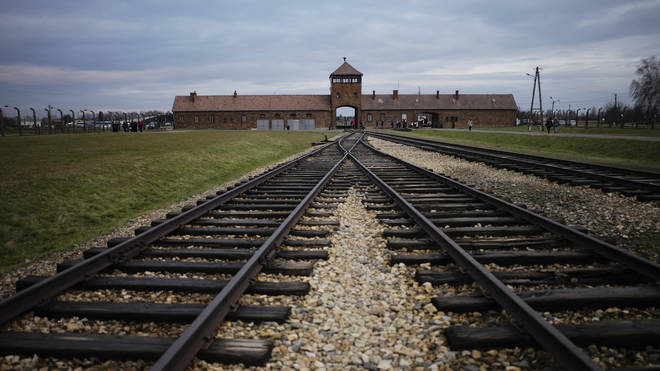 The railway tracks leading to the Auschwitz Nazi death camp in Poland