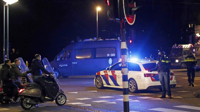 Roadblock amid Netherlands curfew
