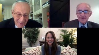 The Duchess of Cambridge during a video call with Manfred Goldberg (right) and Zigi Shipper