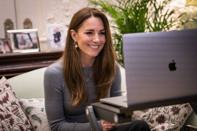 Kate during a video call with Holocaust survivors and youth ambassadors