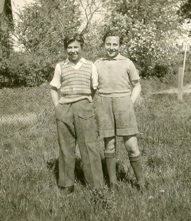 Zigi Shipper and Manfred Goldberg at Lensterhof Convalescence Home in Germany, after liberation in 1945