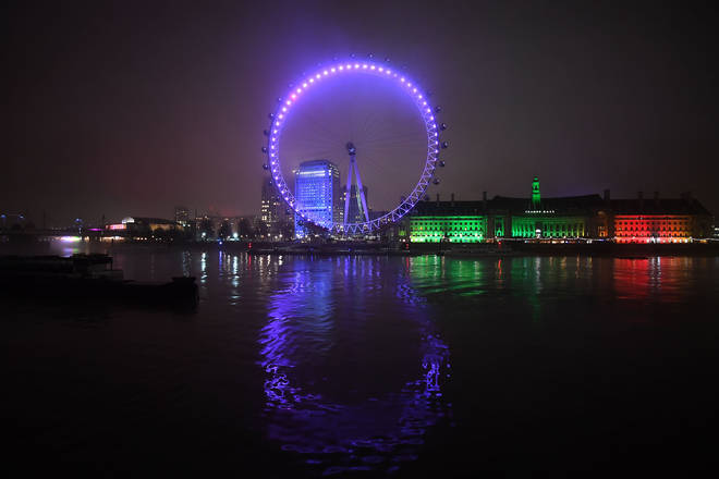 The London Eye was lit up purple in remembrance of victims of the Holocaust.
