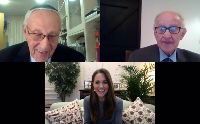 The Duchess of Cambridge during a video call with Manfred Goldberg (right) and Zigi Shipper.