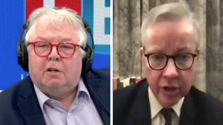 Michael Gove defended the PM's trip after being quizzed by LBC's Nick Ferrari