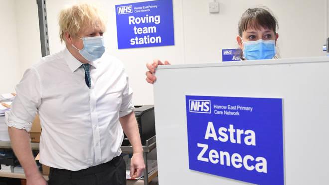 Prime Minister Boris Johnson is shown the distribution operation for sending the Oxford/Astrazeneca coronavirus vaccines