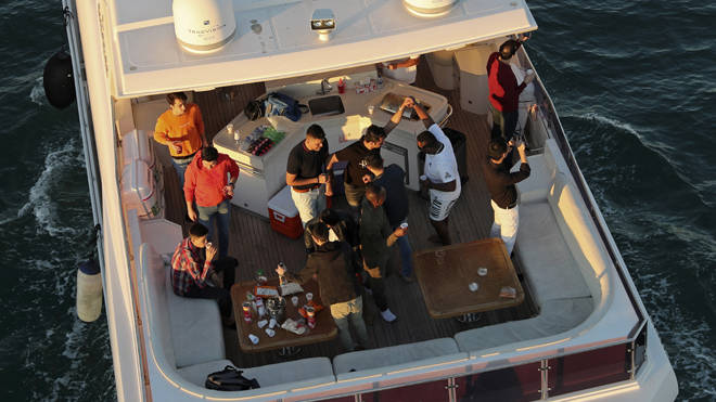 People partying on a yacht in Dubai