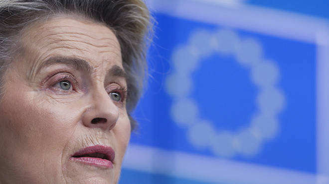 EU's President Ursula von der Leyen is demanding UK factories supply the agreed Covid jab dose as per the contract