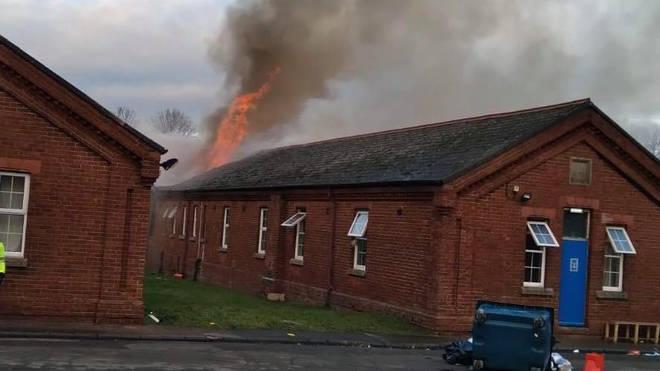 A fire has broken out at Napier Barracks in Folkestone, Kent