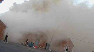 Plumes of smoke have been seen billowing out from the buildings