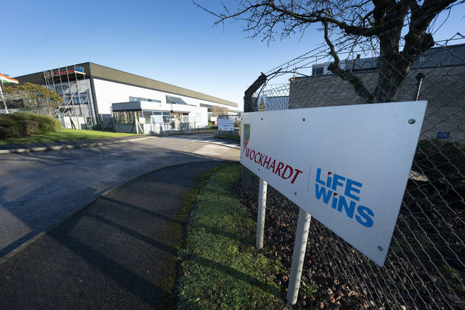 All staff had to be evacuated from the Wockhardt site in Wrexham, North Wales, on Wednesday