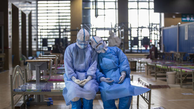 Medical team members from northwest China's Qinghai Province