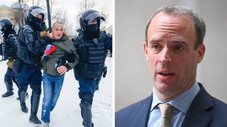 Dominic Raab pressed Russia to release detained protesters