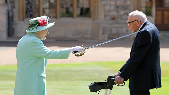 Capt Sir Tom Moore is knighted by the Queen