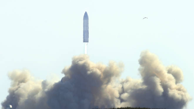 paceX's bullet-shaped Starship prototype lifts off for test launch