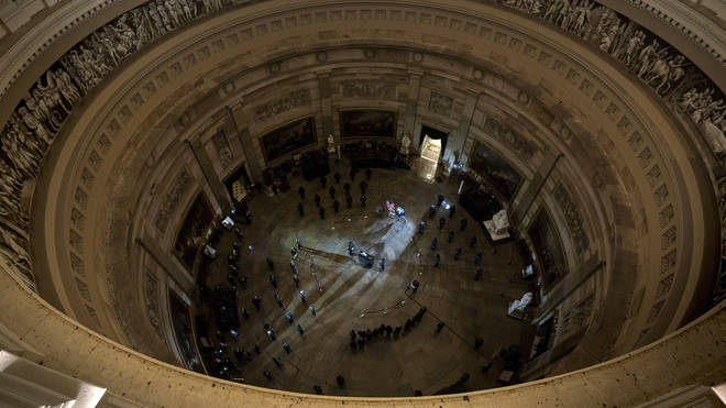 Mr Sicknick was lying in honour in the famed domed rotunda on Tuesday evening,