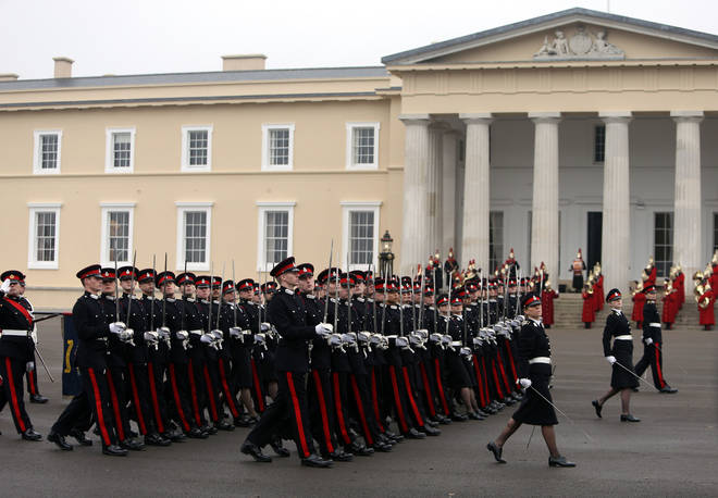 Recruits at Sandhurst have been told they face severe punishment if they break Covid rules (file image)