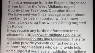West Midlands Police sent this text message to more than 2,000 potential cocaine users