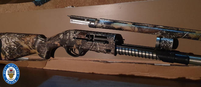 A 12-gauge shotgun was recovered following the search of addresses in the region