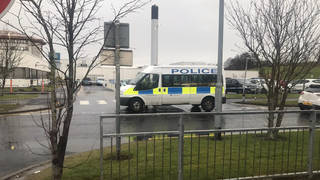 Police at the scene of the incidents in Kilmarnock