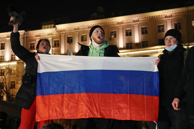 Protesters gathered outside a court in Moscow where Alexei Navalny is on trial
