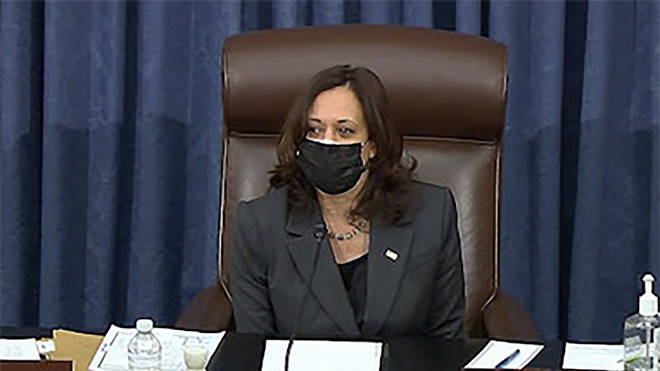 Vice President Kamala Harris cast the tie-breaking vote in the Senate