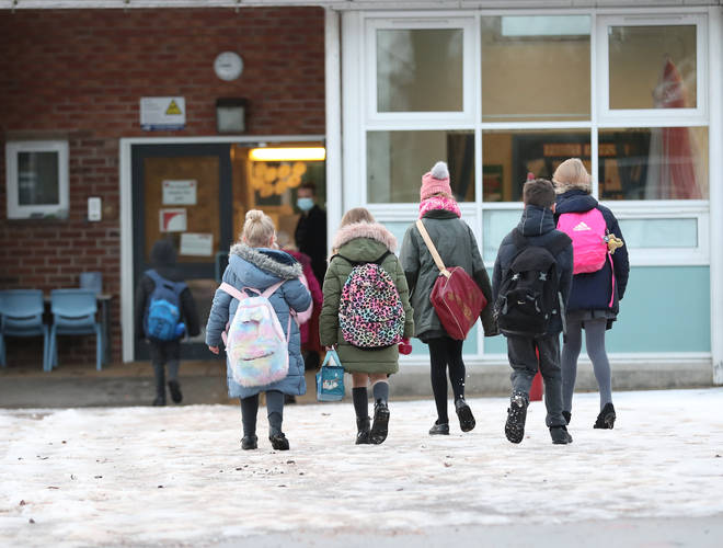 File photo: Pupils arriving at Manor Park School and Nursery in Knutsford, Cheshire