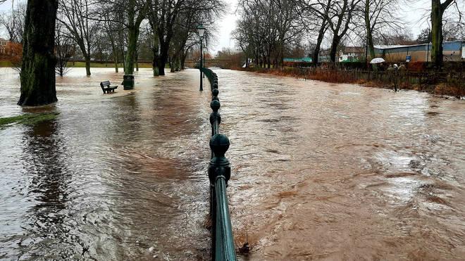 A park was flooded in Cupar, Fife after the River Eden burst its banks
