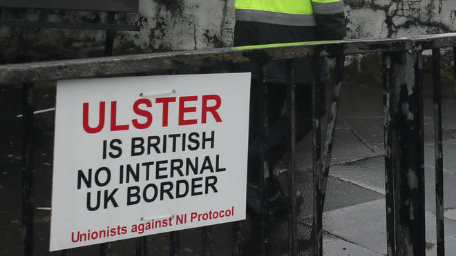 Signs and graffiti were spotted around Larne Port