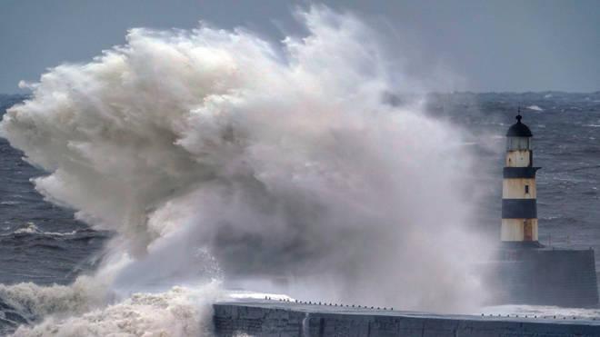 Huge waves crashed over Seaham lighthouse in Durham