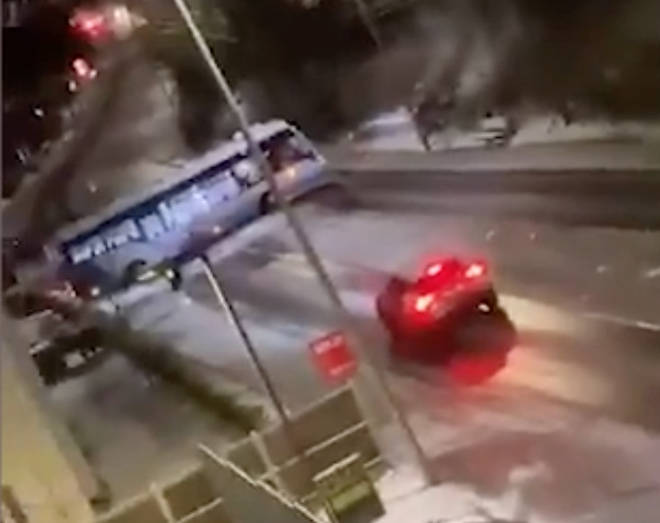 The bus ended up sideways across the road