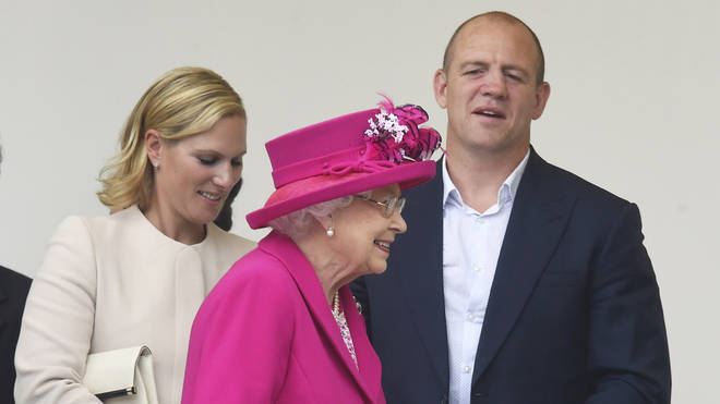 Mike and Zara Tindall with the Queen