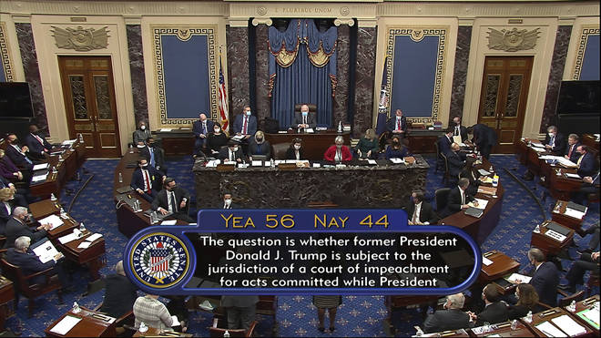 Senators voted 56-44 on the question of whether the Senate has jurisdiction and could proceed