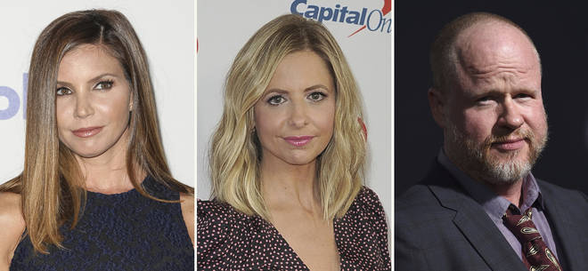 From left to right: Charisma Carpenter, Sarah Michelle Gellar, Joss Whedon